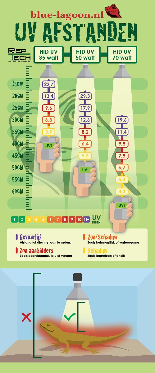 Elk reptiel heeft zijn eigen UV behoeftes, met deze infographic kan je gemakkelijk zien welke UVB lamp jij nodig hebt om jouw reptiel van de ideale UV behoefte te voorzien